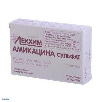 Амикацина сульфат раствор 250 мг/мл ампула 4 мл №1