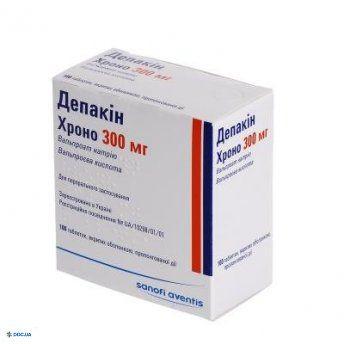 Депакин хроно 300 мг таблетки пролонгированного действия, покрытые оболочкой, №100