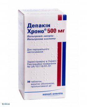 Депакин хроно 500 мг таблетки пролонгированного действия, №30