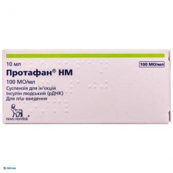 Инсулин Протафан НМ 100 сусп д/ин  флакон 100 МО/1мл 10 мл, №1