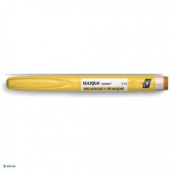 Соликва раствор для инъекций 100 ЕД/мл + 50 мкг/мл в картриджах  (без иголок для инъекций) по 3 мл №3