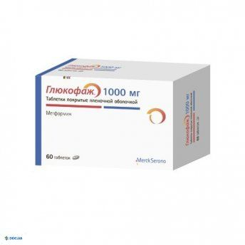 Глюкофаж таблетки 1000 мг, №60
