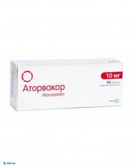Аторвакор таблетки п/пл. об. 10 мг № 60