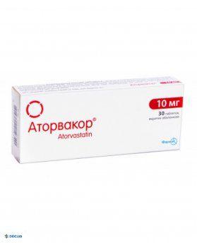 Аторвакор таблетки, п/пл. об. 10 мг, №30