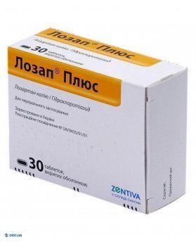 Лозап плюс 50 мг/12,5 мг таблетки №30