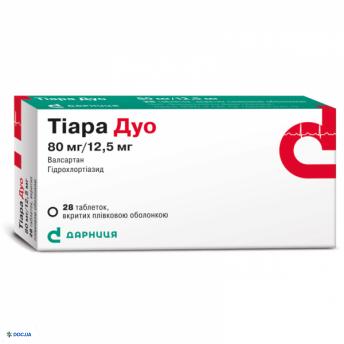 Тиара дуо таблетки 80 мг + 12,5 мг, №28