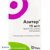 Препарат: Азитер капли глазные, раствор 15 мг/г 250 мг, №6