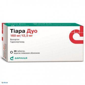 Тиара дуо таблетки 160 мг + 12,5 мг, №28