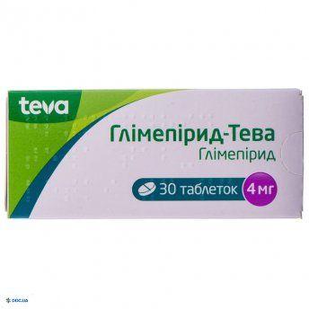 Глимепирид-тева таблетки 4 мг блистер, №30