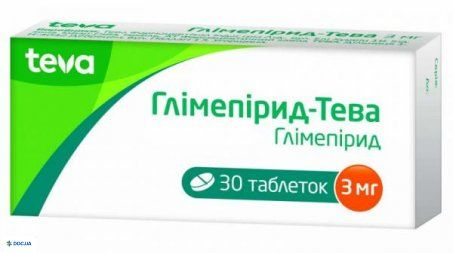 Глимепирид-тева таблетки 3 мг блистер, №30