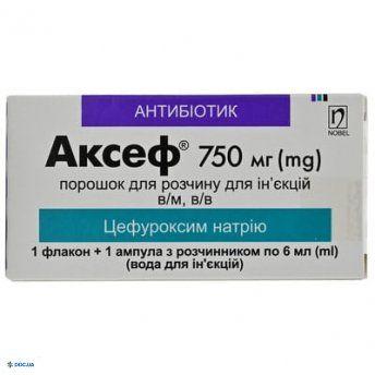 Аксеф порошок для инъекционного раствора 750 мг флакон, с растворителем 6 мл, №1