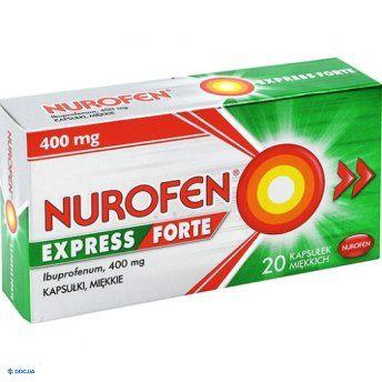 Препарат: Нурофен Экспрес форте капс 400мг №20