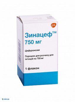 Зинацеф порошок для приготовления инъекционного раствора 750 мг флакон, №1