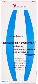 Флемоклав солютаб таблетки диспергируемые 250 мг + 62,5 мг, №20