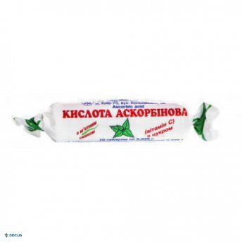 Аскорбиновая к-та с сахаром (мята) табл 0,025 г № 10