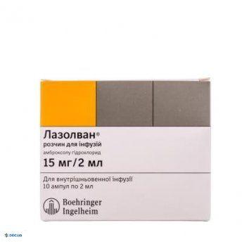 Лазолван ампулы 15 мг 2 мл №10