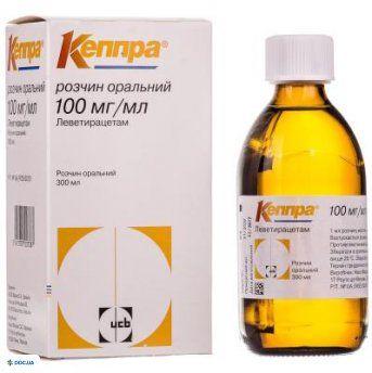 Кеппра раствор оральный 100 мг/мл флакон 300 мл, с мерным шприцем, №1