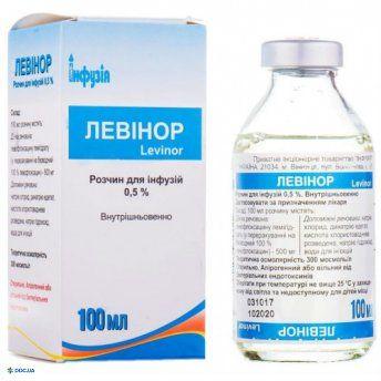 Левинор раствор для инфузий 0,5 % бутылка 100 мл, в пачке, №1