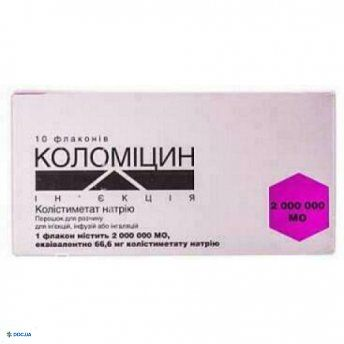 Коломицин инъекция порошок для раствора для инъекций, инфузий или ингаляций 2000000 ме флакон, №10
