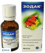 Препарат: Зодак капли оральные 10 мг/мл флакон 20 мл, №1