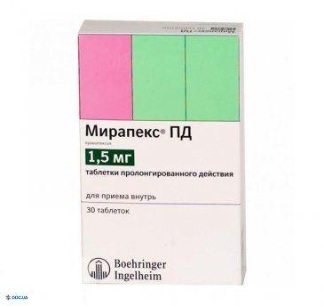 Мирапекс ПД таблетки 1,5 мг, №30