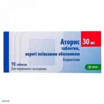 Аторис таблетки, п/о 30 мг, №90