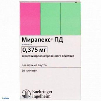 Мирапекс ПД таблетки 0,375 мг, №30