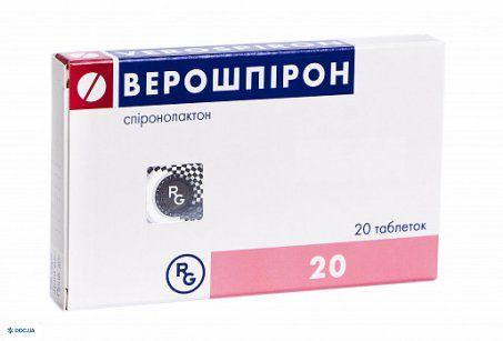 Верошпирон таблетки 25 мг №20