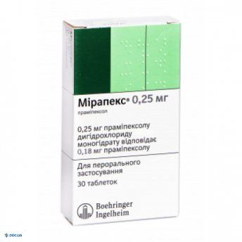 Мирапекс таблетки 0,25 мг, №30