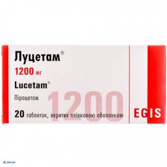 Луцетам 1200 мг таблетки №20