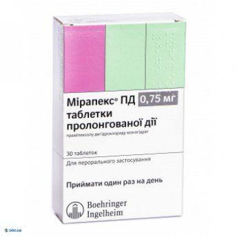 Мирапекс ПД таблетки 0,75 мг, №30