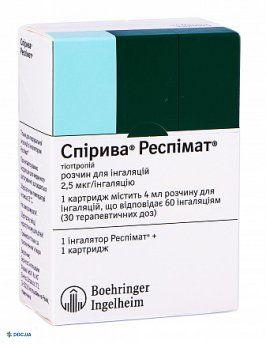 Спирива Респимат раствор для ингаляций 2,5 мкг/инг картридж с ингалятором респимат® 4 мл, 60 ингаляций, №1