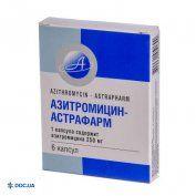 Препарат: Азитромицин-Астрафарм капсулы 250 мг №6