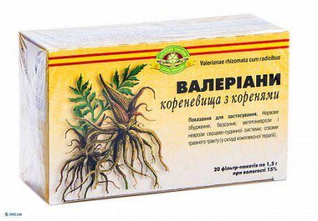 Валерианы корневища с корнями  корневища с корнями 1,5 г фильтр-пакет, №20