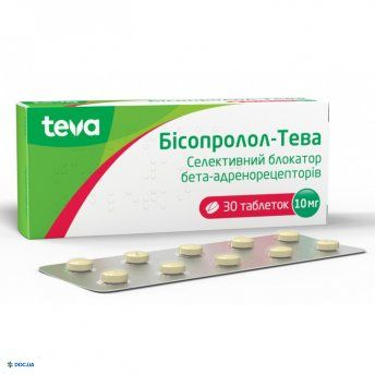 Бисопролол-Тева таблетки 10 мг, №30