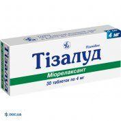 Препарат: Тизалуд таблетки 4 мг №30