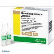 Препарат: Никотиновая кислота-Дарница раствор для инъекций ампулы 1%, 1 мл, N10