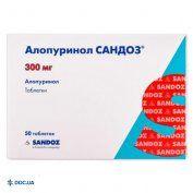 Препарат: Аллопуринол Сандоз таблетки 300 мг блистер, №50