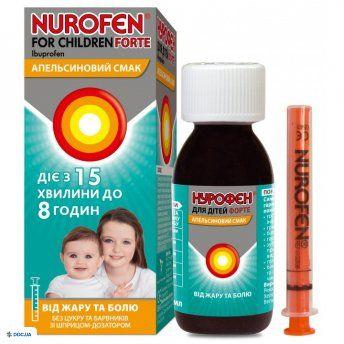 Препарат: Нурофен Форте суспензия для детей 200 мг/5 мл, 100 мл апельсин
