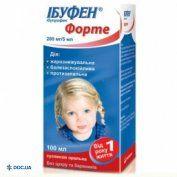 Препарат: Ибуфен форте суспензия 200 мг/5 мл с клубничным вкусом 100 мл