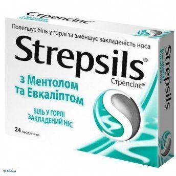 Препарат: Стрепсилс леденцы c ментолом и эвкалиптом №24