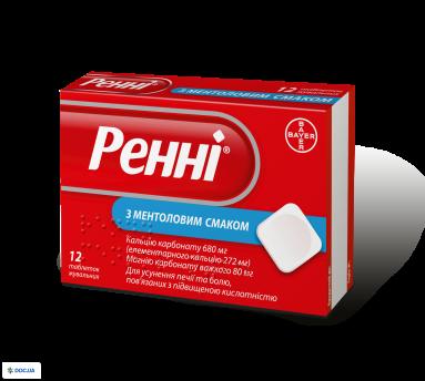 Ренни таблетки жевательные ментол №12