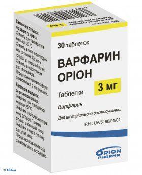 Препарат: Варфарин Орион таблетки 3 мг №30
